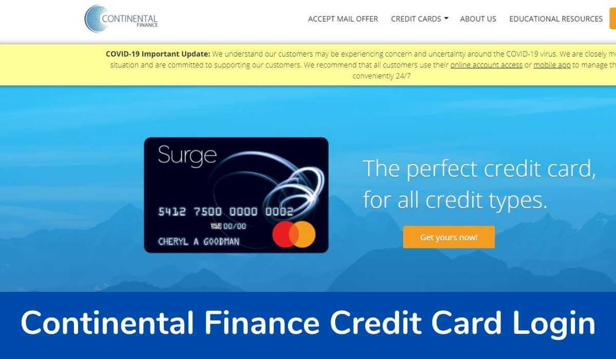 Continental Finance Credit Card Login