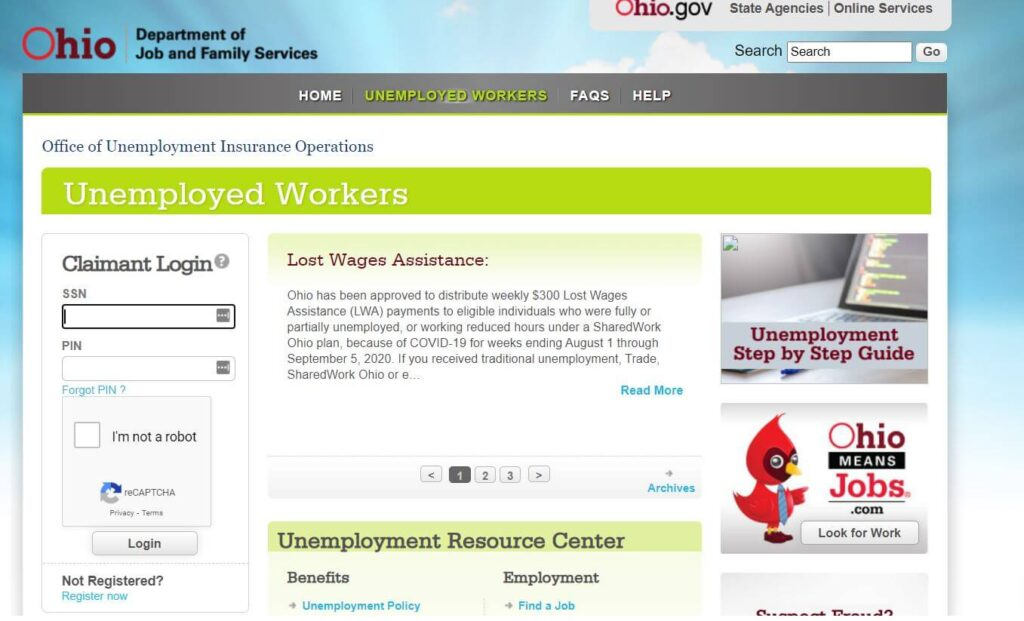 Login in the Ohio Unemployment Account