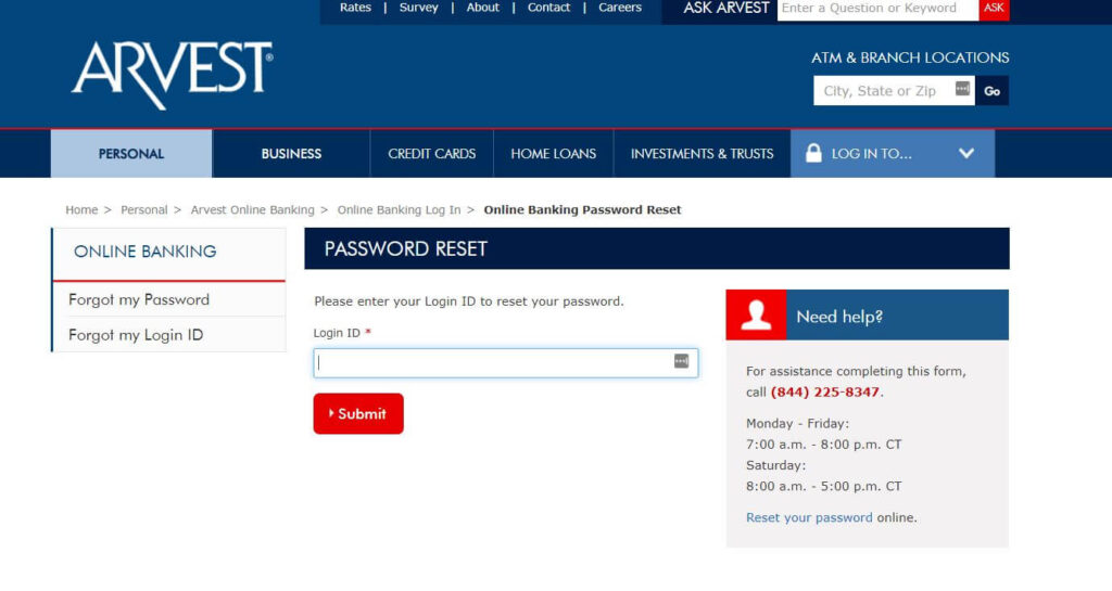 Reset Your Arvest Online Banking Login ID & Password