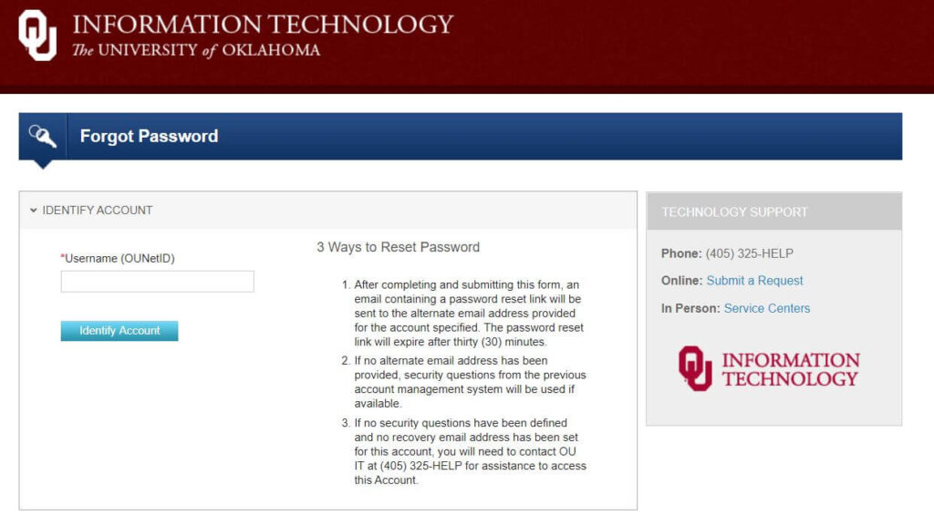 Reset Your OU OZONE Account password
