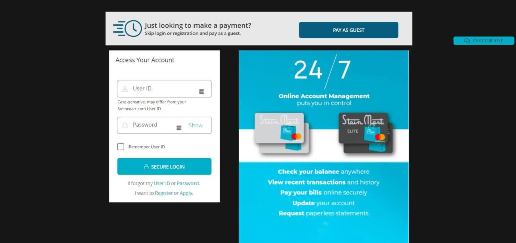 login page of Stein Mart Credit Card Account