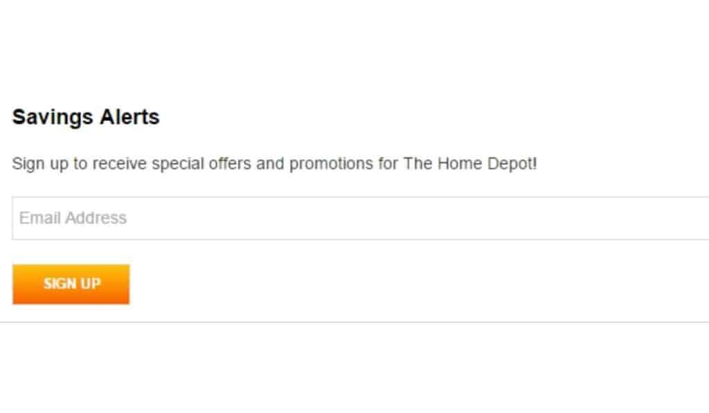 home depot email sign up